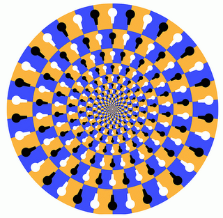 It seems to be moving, or maybe I am moving and I'm going towards the centre and maybe there is some sort of prize in the centre and I'm working hard and getting close to it and then my eyes twitch and the circles stop spinning and, once again, I'm not going anywhere. (click for image source)